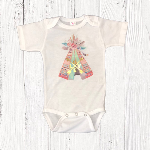 "Infant Liberty Linens Onesie, Tee Pee ""Love"""