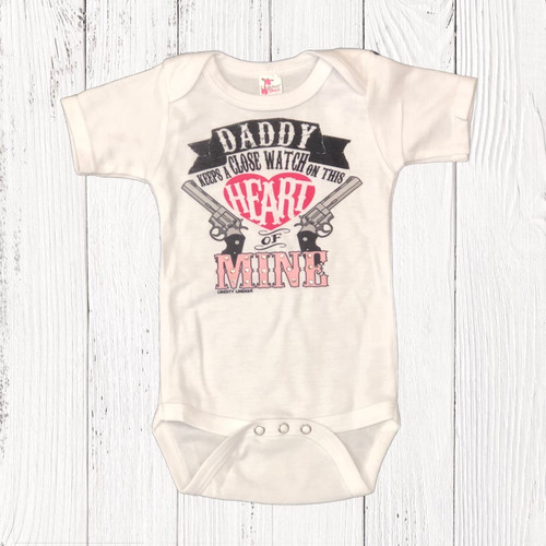 Infant Liberty Linens Onesie, Close Watch on This Heart of Mine