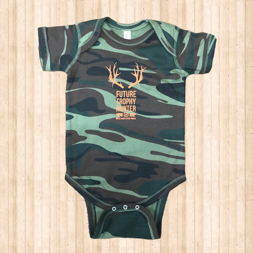 "Boys Ruby's Rubbish Onesie, Camo/ Orange, ""Trophy Hunter"""