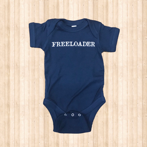 "Kids Ruby's Rubbish Onesie, Navy/White ""Freeloader"""