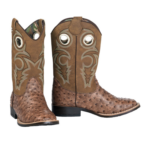 KIds Double Barrel Boots, Brant, Ostrich Print, Green Stitching