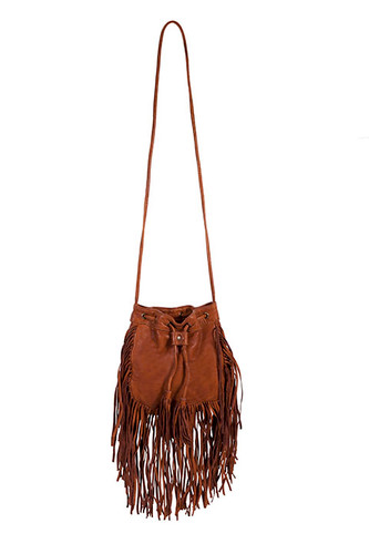 Scullly Purse, Brown Crossbody, Open Top, Fringe