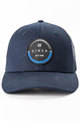 Men's Cinch Cap, Navy Trucker, Black and Blue Logo