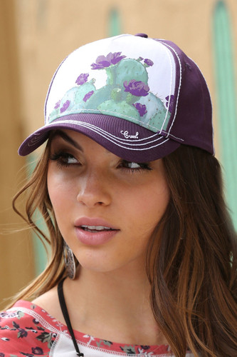 Women's Cruel Girl Cap, Purple with Prickly Cactus