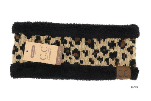 C.C. Headwrap, Lined Leopard Print