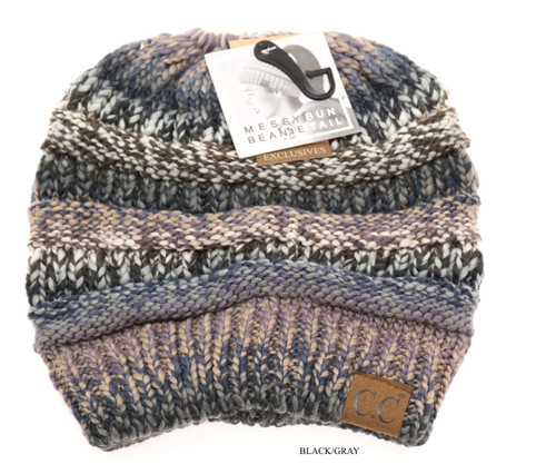 C.C. Beanie, Multi Color, Messy Bun Beanie Tail, Cable Knit