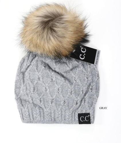 C.C. Beanie, Rhinestone Fur Pom
