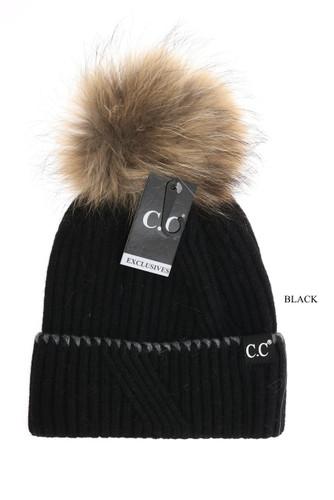 C.C. Beanie, Ribbed Cuff, Fur Pom