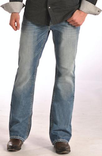 "Men's Rock & Roll Jeans Relax Bootcut, Medium Vintage Wash, ""V"" Pocket"