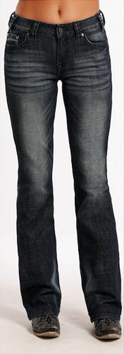 Women's Rock & Roll Jeans, Mid Rise, Dark Wash, Distressed Pocket