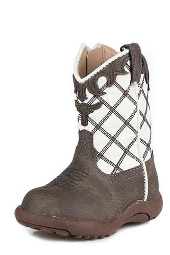 Infant Roper Boots, Brown Vamp with White Shaft, Steerhead