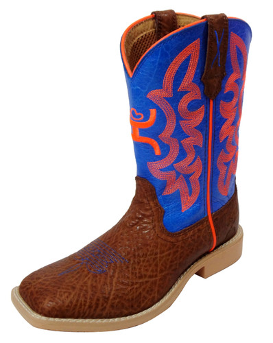 Kids Twisted X Boot, Hooey Brown with Blue and Orange