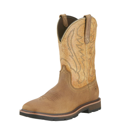 Men's Ariat Boot, Steel Toe, Brown Square, Tan Shaft