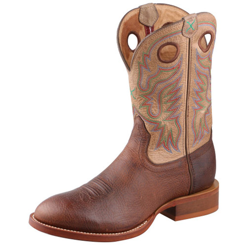 Men's Twisted X Boot, Brown Round Toe with Tan Shaft