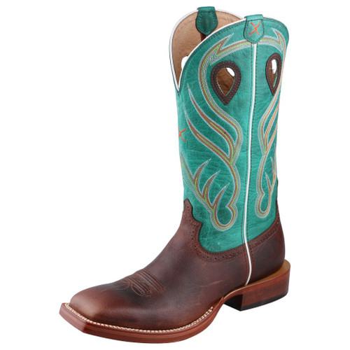 Men's Twisted X Boot, Brown Vamp with Teal Shaft