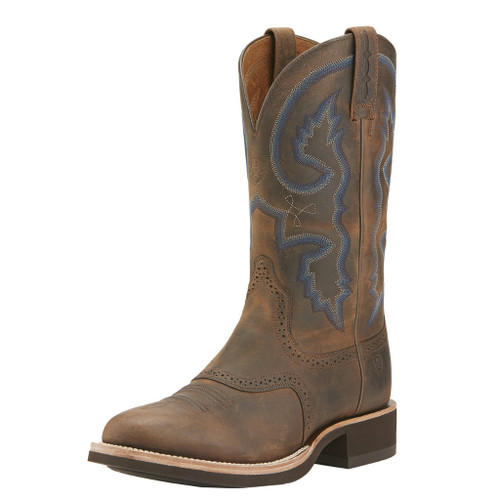 Men's Ariat Boot, Brown Round Toe, Crepe Sole