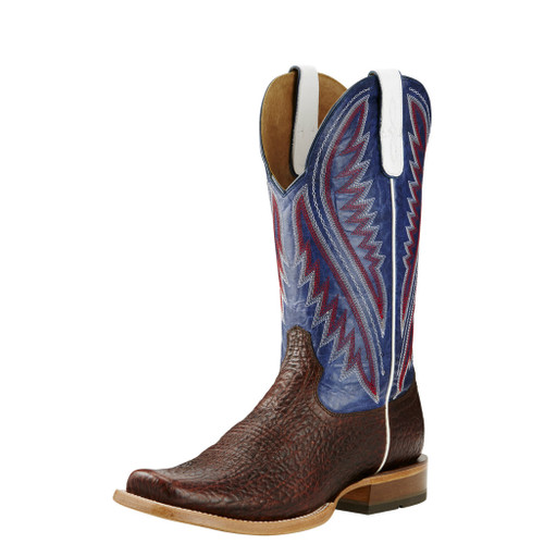Men's Ariat Boot, Hoolihan Brown Bull Hide, Navy Top, Square Toe
