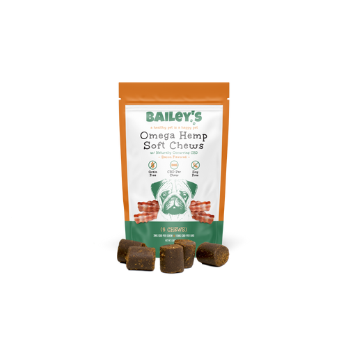 Bailey's Pet Bacon Flavored Omega Hemp Soft Chews Product 5ct Front