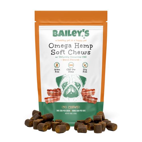 Bailey's Pet Bacon Flavored Omega Hemp Soft Chews Product 30ct Front