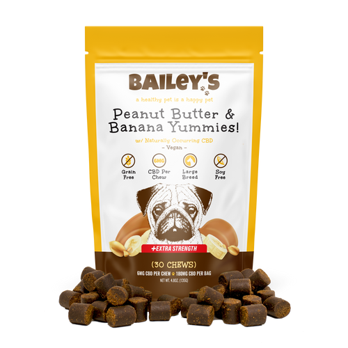 Bailey's Pet Peanut Butter and Banana Yummies Large Breed Product 30ct Bag Front