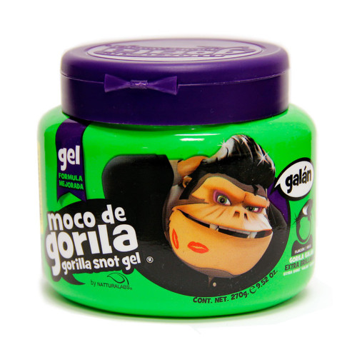 Discover a whole new world in hair styling. Moco de Gorila styling gel gives a strong hold for all hair types. It keeps hair free of nasty residue. It contains natural ingredients.