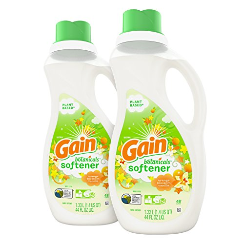 Gain's first plant based fabric softener with the irresistible scent of Gain Botanicals White Tea and Lavender. Formula is 70% Bio-Based made with plant based active. Pair Gain Botanicals plant based fabric softener with laundry detergent for even more noticeable scent! USDA certified 70% Bio-based product Gentle on skin No dyes, parabens, optical brighteners
