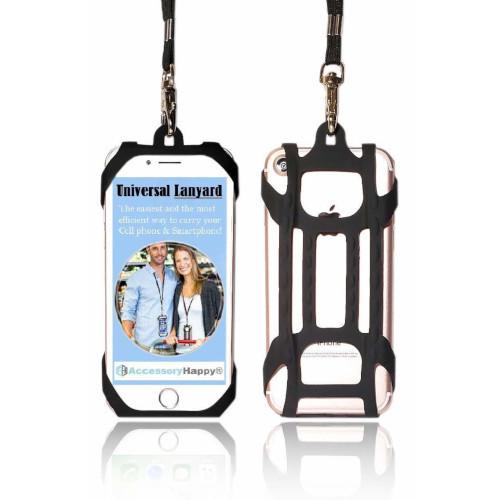 Premium Universal 2 in 1 Lanyard & Card Holder (Black)