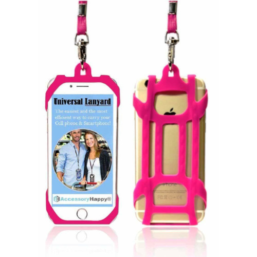 Premium Universal 2 in 1 Lanyard & Card Holder (Hot Pink)