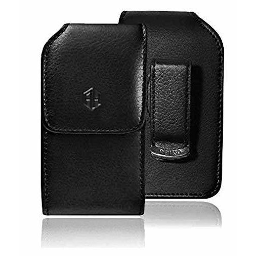 Large Black Vertical 360 Rotating Leather Belt Pouch