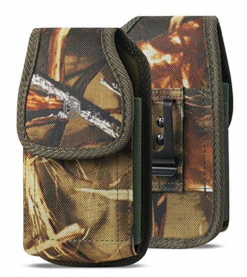 Vertical Military Grade Camo Cell Phone Belt Pouch, Compatible w/iPhone Xs Max XR iPhone 8 Plus,7 Plus,6S+ 6 Plus, OnePlus 6T Rugged Canvas Holster Waist Carrying Bag Fits Phone with Waterproof/Thick Case