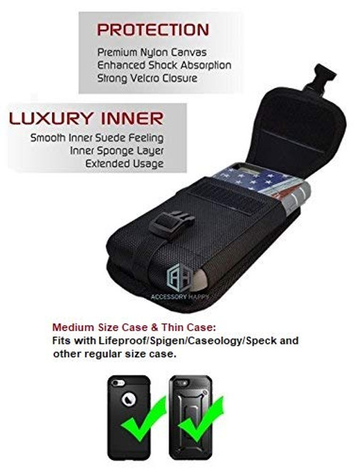 Vertical Military Grade Cell Phone Case, Compatible w/iPhone Xs Max XR iPhone 8 Plus,7 Plus,6S+ 6 Plus, OnePlus 6T Rugged Canvas Pouch Holster Waist Carrying Hanging Bag Fits Phone with Waterproof/Thick Case