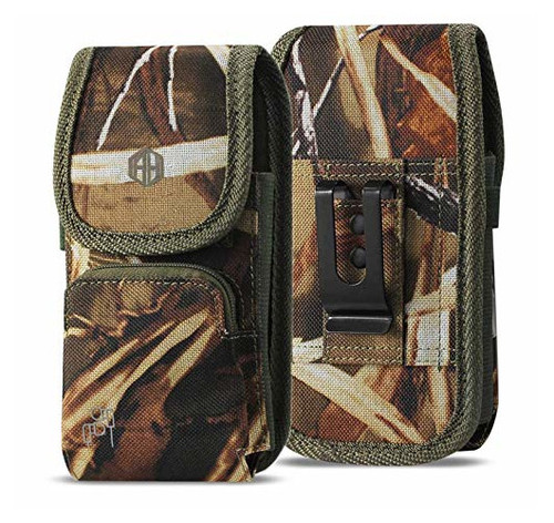 Vertical Military Grade Camo Case w/Storage Pocket, Compatible w/iPhone Xs Max XR iPhone 8 Plus,7 Plus,6s Plus, OnePlus 6T Rugged Canvas Pouch Holster Carrying Bag Fits Phone with Waterproof and Commuter