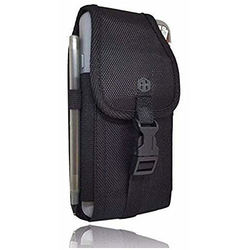 Vertical Military Grade Cell Phone Belt Case, Rugged Outdoor Pouch Carrying Clip Compatible w/ [iPhone 6 6S 7 8 X XR XS (4.7'')] Kyocera DuraForce PRO Sam S7 S8 J7
