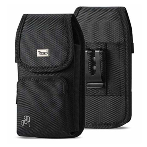 Vertical Military Grade Cell Phone Case, Black Pocket Rugged Outdoor Carry Pouch Belt Clip Compatible w/ [iPhone 6 6S 7 8 X XR XS (4.7'')] Kyocera DuraForce Rugged Canvas Holster Fits Phone with Waterproof & Commuter Case