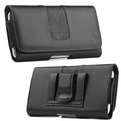 "AccessoryHappy Horizontal Luxury Cell Phone Belt Pouch, Compatible w/iPhone Xs Max, 8 Plus 7 Plus 6 Plus Holster Clip fits w/Commuter Slim Case On or Bare Phone - Inside Dims [6.3"" X 3.25"" X 0.5""]"