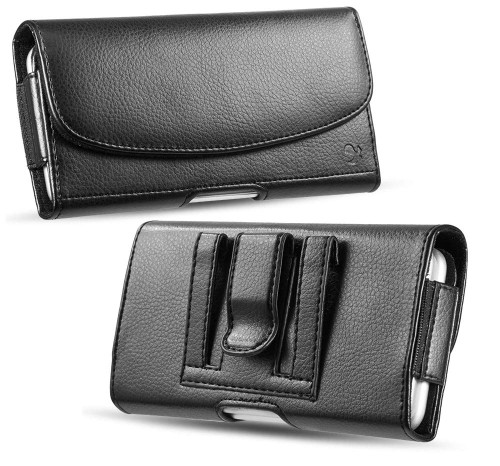 "Premium iPhone Cell Phone Belt Pouch, Compatible w/ [iPhone 6 6S 7 8 X XR] Strong Magnet Holster iPhone 7 Leather Belt Case Fit with Otterbox Defender Case/Lifeproof Case/Battery Case On - Inside Dimensions: [6.0"" X 3.1"" X 0.65"""