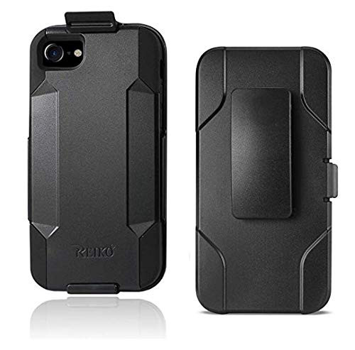 Reiko Branded 3 in 1 Combo Holster Case, iPhone 7 Plus 8 Plus Hybrid Heavy Duty Holster Combo Case Silicone Inner Case + Plastic Hard Outer Shell + 360 Rotate Holster‐3 in 1 Combination