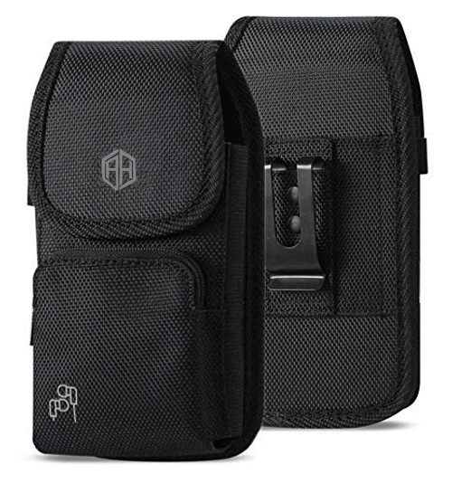 Vertical Military Grade Black Case w/Storage Pocket, Compatible w/iPhone Xs Max XR iPhone 8 Plus,7 Plus,6s Plus, OnePlus 6T Rugged Canvas Pouch Holster Carrying Bag Fits Phone with Waterproof and Otterbox Defender