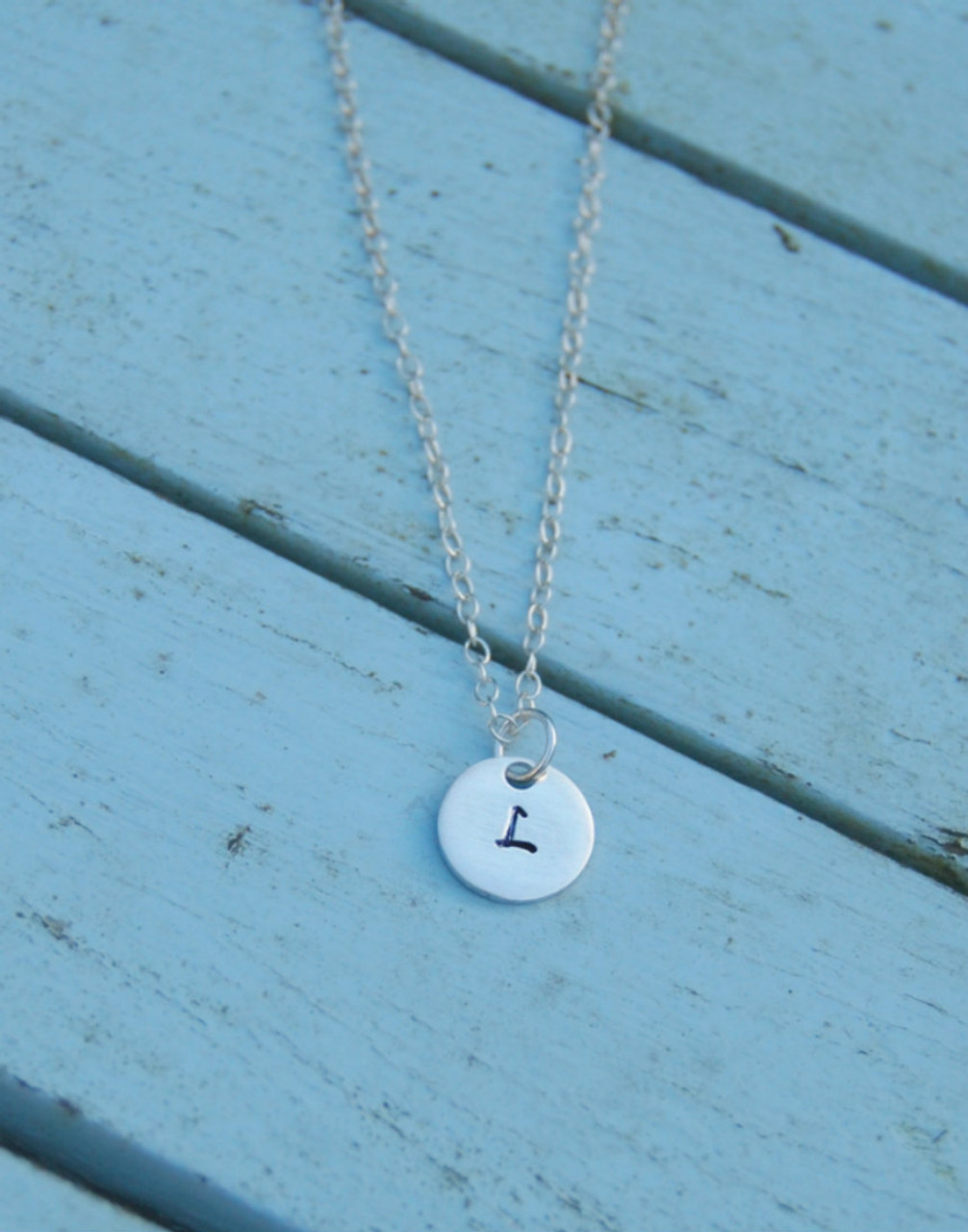 Sterling Silver Round Initial Charm Letter A Hand Stamped With 18 Silver Bead Chain
