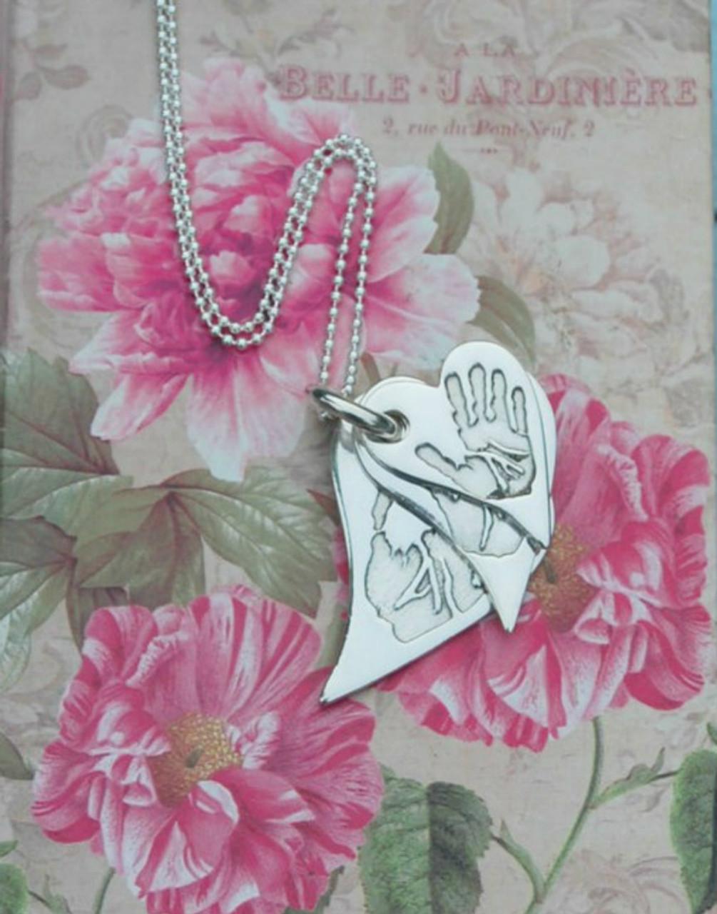 b5ca89135697d Hand/Foot print triple stacked pendant - wavy heart shape