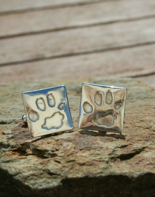 Fine silver square paw print cufflinks with sterling silver cufflink attachment