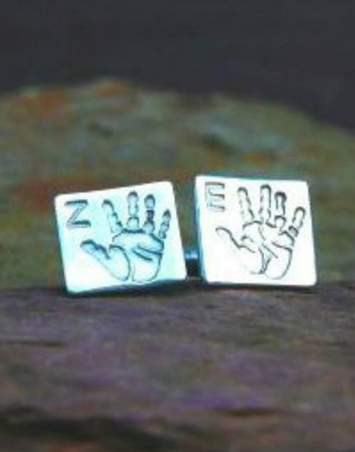 Silver print cufflinks with initial in our square shape and sterling silver cufflink attachment