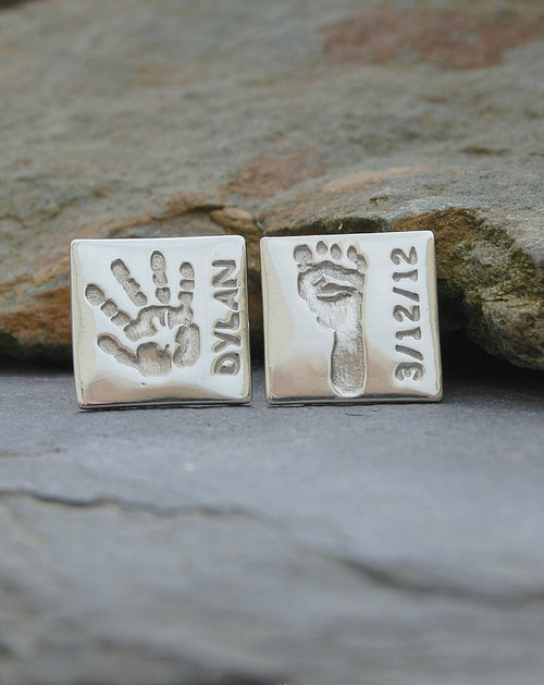 Sterling silver handprint footprint name square cufflinks