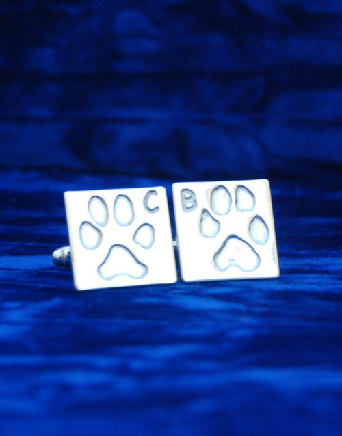 Fine silver pawprint cufflink and sterling silver cufflink backs. A perfect gift for the man in your life