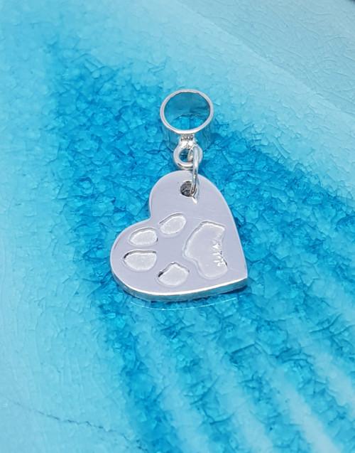 Elegant traditional heart silver paw print charm