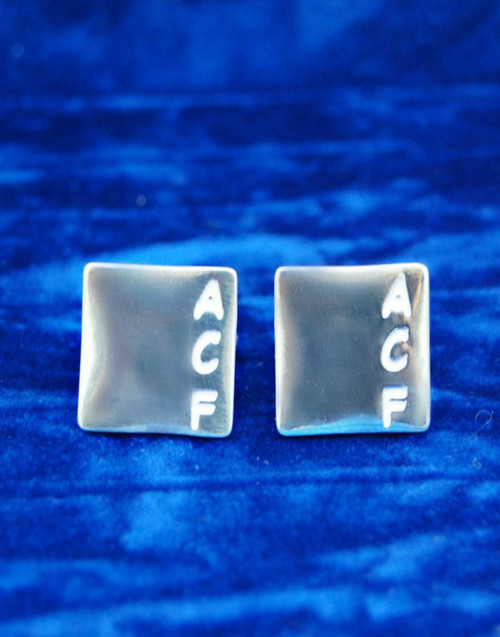 Sterling silver initial cufflinks and sterling silver cufflink fittings