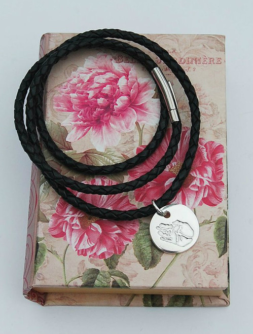 Triple wrap leather bracelet and silver charm