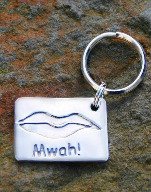 Fine silver rectangle keyring and sterling silver split ring