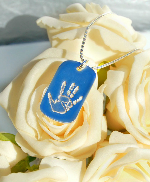 Sterling silver double handprint footprintdogtag pendant and sterling silver chain