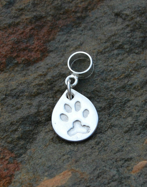 Fine silver print teardrop charm and sterling silver carrier.
